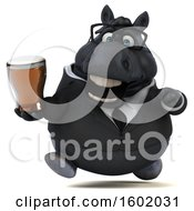 Clipart Of A 3d Chubby Black Business Horse Holding A Beer On A White Background Royalty Free Illustration