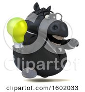 3d Chubby Black Business Horse Holding A Light Bulb On A White Background