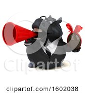 Clipart Of A 3d Chubby Black Business Horse Holding A Chocolate Egg On A White Background Royalty Free Illustration