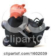 Clipart Of A 3d Chubby Black Business Horse Holding A Piggy Bank On A White Background Royalty Free Illustration