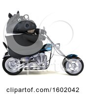 3d Chubby Black Business Horse Biker Riding A Motorcycle On A White Background