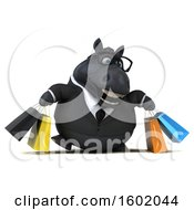 3d Chubby Black Business Horse Carrying Shopping Bags On A White Background