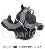 Clipart Of A 3d Chubby Black Business Horse Holding Up A Middle Finger On A White Background Royalty Free Illustration
