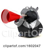 Clipart Of A 3d Chubby Black Business Horse Holding A Megaphone On A White Background Royalty Free Illustration
