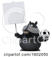 Clipart Of A 3d Chubby Black Horse Holding A Soccer Ball On A White Background Royalty Free Illustration