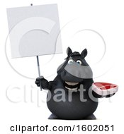 Clipart Of A 3d Chubby Black Horse Holding A Steak On A White Background Royalty Free Illustration