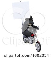 3d Chubby Black Horse Biker Riding A Motorcycle On A White Background
