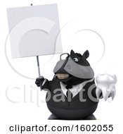 Clipart Of A 3d Chubby Black Business Horse Holding A Tooth On A White Background Royalty Free Illustration