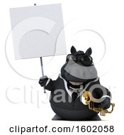 3d Chubby Black Business Horse Holding A Trumpet On A White Background