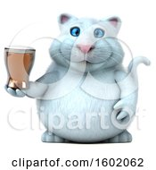 Clipart Of A 3d White Kitty Cat Holding A Beer On A White Background Royalty Free Illustration