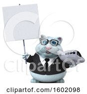 Clipart Of A 3d White Business Kitty Cat Holding A Plane On A White Background Royalty Free Illustration