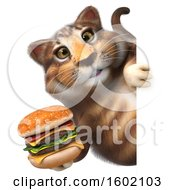 3d Tabby Kitty Cat Holding A Burger On A White Background