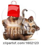 3d Tabby Kitty Cat Holding A Shopping Bag On A White Background