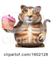 Clipart Of A 3d Tabby Kitty Cat Holding A Cupcake On A White Background Royalty Free Illustration by Julos