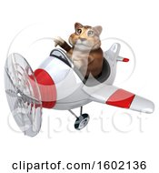 Clipart Of A 3d Tabby Kitty Cat Flying A Plane On A White Background Royalty Free Illustration by Julos