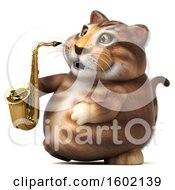 3d Tabby Kitty Cat Holding A Saxophone On A White Background