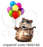 Clipart Of A 3d Tabby Kitty Cat Holding Balloons On A White Background Royalty Free Illustration by Julos
