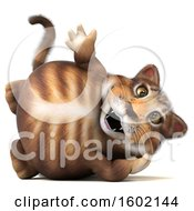 Clipart Of A 3d Tabby Kitty Cat Resting And Waving On A White Background Royalty Free Illustration by Julos