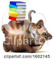 Clipart Of A 3d Tabby Kitty Cat Holding Books On A White Background Royalty Free Illustration by Julos