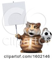 Clipart Of A 3d Tabby Kitty Cat Holding A Soccer Ball On A White Background Royalty Free Illustration by Julos