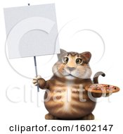 Clipart Of A 3d Tabby Kitty Cat Holding A Pizza On A White Background Royalty Free Illustration by Julos