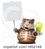 3d Tabby Kitty Cat Holding A Light Bulb On A White Background