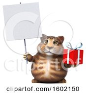 Clipart Of A 3d Tabby Kitty Cat Holding A Gift On A White Background Royalty Free Illustration by Julos