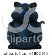 Clipart Of A 3d Black Kitty Cat On A White Background Royalty Free Illustration by Julos