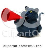 Clipart Of A 3d Black Kitty Cat Using A Megaphone On A White Background Royalty Free Illustration