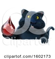 Clipart Of A 3d Black Kitty Cat Holding A Blood Drop On A White Background Royalty Free Illustration