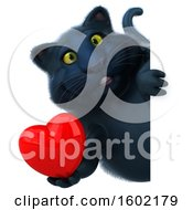 Poster, Art Print Of 3d Black Kitty Cat Holding A Heart On A White Background