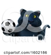 3d Black Kitty Cat Holding A Soccer Ball On A White Background