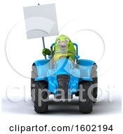 Clipart Of A 3d Green Bird Operating A Tractor On A White Background Royalty Free Illustration by Julos