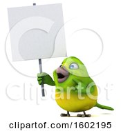 Clipart Of A 3d Green Bird Holding A Sign On A White Background Royalty Free Illustration by Julos