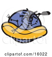 Rafting Skeleton Clipart Illustration