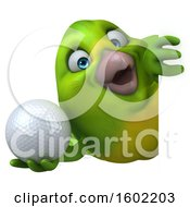 Clipart Of A 3d Green Bird Holding A Golf Ball On A White Background Royalty Free Illustration by Julos
