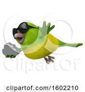 Clipart Of A 3d Green Bird Holding A Cloud On A White Background Royalty Free Illustration by Julos
