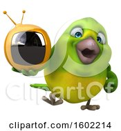 Clipart Of A 3d Green Bird Holding A Tv On A White Background Royalty Free Illustration by Julos