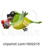 Clipart Of A 3d Green Bird Holding An Alarm Clock On A White Background Royalty Free Illustration by Julos