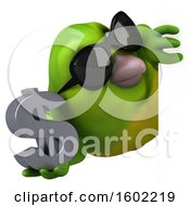 Clipart Of A 3d Green Bird Holding A Dollar Sign On A White Background Royalty Free Illustration by Julos