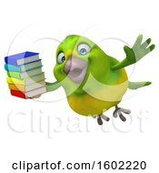 Clipart Of A 3d Green Bird Holding Books On A White Background Royalty Free Illustration by Julos