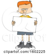 Cartoon Angry White Boy Holding A Blank Sign