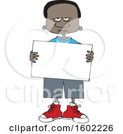 Cartoon Angry Black Boy Holding A Blank Sign