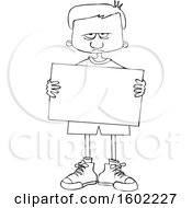 Cartoon Lineart Angry Boy Holding A Blank Sign