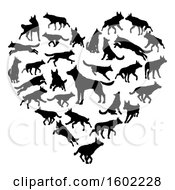 Clipart Of A Heart Made Of Black Silhouetted German Shepherd Dogs Royalty Free Vector Illustration