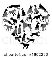 Clipart Of A Heart Made Of Black Silhouetted Boxer Dogs Royalty Free Vector Illustration