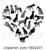 Clipart Of A Heart Made Of Black Silhouetted Bull Terrier Dogs Royalty Free Vector Illustration