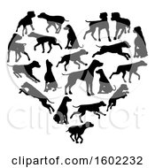 Clipart Of A Heart Made Of Black Silhouetted Dalmatian Dogs Royalty Free Vector Illustration