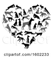 Clipart Of A Heart Made Of Black Silhouetted Dobermann Dogs Royalty Free Vector Illustration