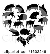 Clipart Of A Heart Made Of Black Silhouetted Pigs Royalty Free Vector Illustration